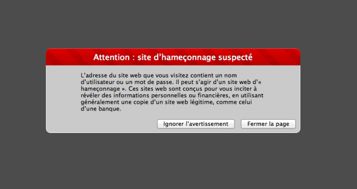 Attention site d'hameçonnage suspecté