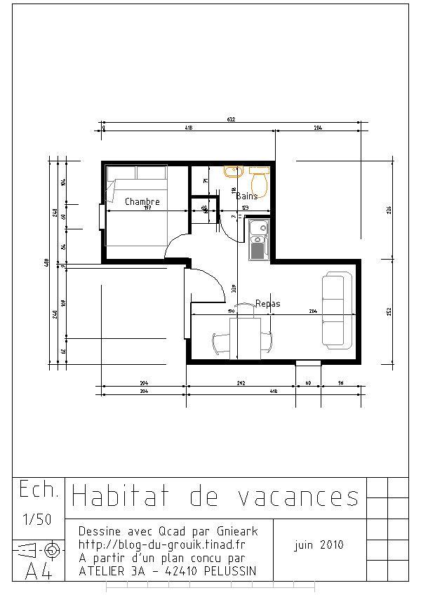 ... Initiation Qcad Blog Du Grouik For Plan De Maison Avec Autocad ... Photo